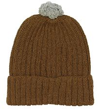 Huttelihut Hat w. Pom-Pom - Knitted - Wool - Brown