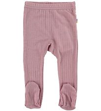Joha Leggings w. Footies - Wool - Rose w. Rib