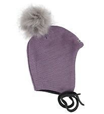 Racing Kids Hat w. Pom-Pom - Wool/Cotton - Purple