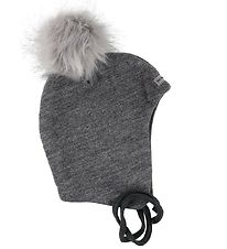 Racing Kids Hat w. Pom-Pom - Wool/Cotton - Grey