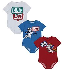 Dolce & Gabbana Bodysuits S/S - 3-Pack - Blue/Red/White