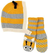 Stella McCartney Kids Baby Hat - Knitted - Grey/Yellow Striped