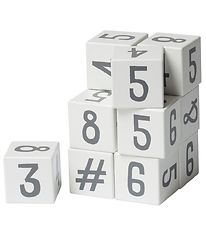 Sebra Stacking Blocks - Numbers - Wood/White