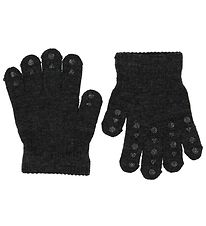 GoBabyGo Gloves - Wool/Polyamide - Dark Grey w. Non-Slip