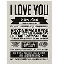 I Love My Type Poster - A3 - I Love You - Warm Grey