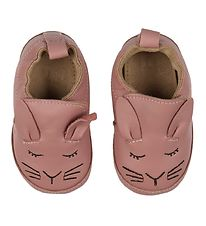 Melton Slippers - Leather - Vintage Rose w. Rabbit