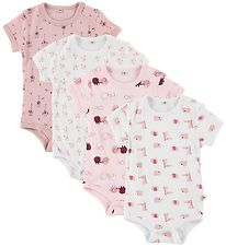 Pippi Bodysuit - 4-Pack - S/S - White/Rose Pattern