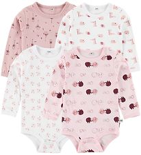Pippi Bodysuit - 4-Pack - L/S - White/Rose Pattern