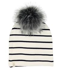 Lehof Hat w. Pom-Pom - Holger - White Striped