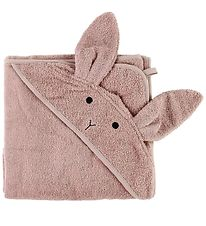 Liewood Hooded Towel - Rose w. Rabbit - 100x100