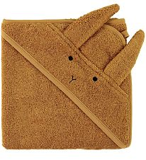 Liewood Hooded Towel - 70x70 - Dark Mustard w. Rabbit