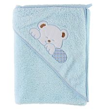 Nørgaard Madsens Hooded Towel - 85x85 - Blue w. Sleeping Bear