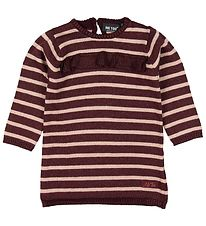 Me Too Dress - Knitted - Bordeaux Striped w. Glitter