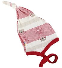 Joha Baby Hat - Red/White Striped w. Cats