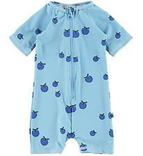 Småfolk Coverall Swimsuit - UV50+ - Blue w. Apples