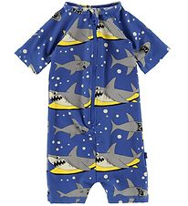 Småfolk Coverall Swimsuit - UV50+ - Blue w. Shark