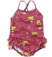 Småfolk Swimsuit - UV50+ - Rose w. Mermaid/Ruffles