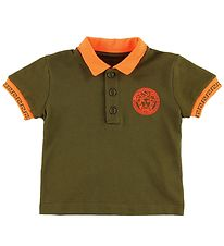 Young Versace Polo - Army Green/Orange w. Medusa