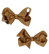 Bows By Stær Bow Hair Clips - 2-Pack - 8 cm - Light Brown