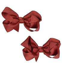 Bows By Stær Bow Hair Clips - 2-Pack - 8 cm - Dark Red