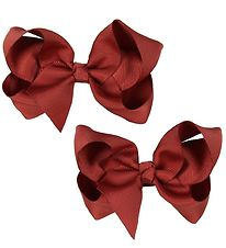 Bows By Stær Bow Hair Clips - 2-Pack - 10 cm - Dark Red