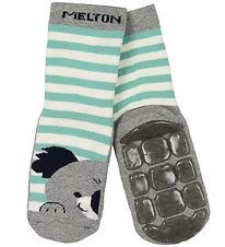 Melton Socks - ABS - Grey Melange Striped w. Koala
