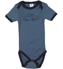 Smallstuff Bodysuit S/S - Dusty Blue w. Car