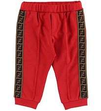 Fendi Kids Trousers - Track - Red w. Side Stripe