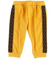 Fendi Kids Trousers - Track - Yellow w. Side Stripe