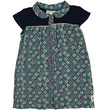 Small Rags Dress - Petrol/Navy w. Flowers