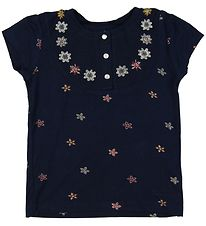 Small Rags T-shirt - Navy w. Flowers