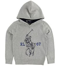 Polo Ralph Lauren Hoodie - Knitted - Grey Melange w. Horse
