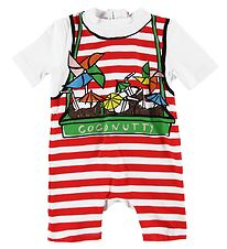 Stella McCartney Kids Coverall Swimsuit - Red Striped w. Coconut