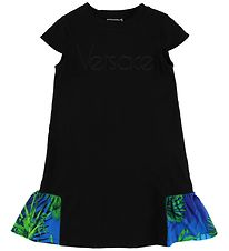 Young Versace Dress - Black w. Blue/Green Plants