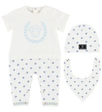 Young Versace Gift Box - Jumpsuit/Beanie/Bib - White/Light Blue