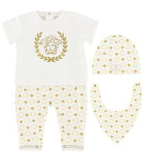 Young Versace Gift Box - Jumpsuit/Beanie/Bib - White/Gold
