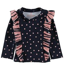 Small Rags Swim Top L/S - UV50+ - Navy/Rose/Dots w. Ruffles