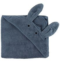 Liewood Hooded Towel - Augusta - Blue w. Rabbit - 100x100