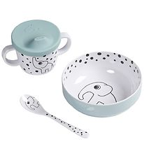 Done By Deer Dinner Set - Happy Dots First Meal - Blue