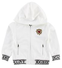 Dolce & Gabbana Zip Thru Hoodie - White w. Patch/Crystals