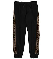 Fendi Kids Trousers - Track - Black w. Side Stripe