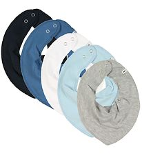 Pippi Teething Bib - 5-Pack - Grey Melange/Blue/White