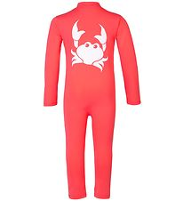 Petit Crabe Coverall Swimsuit - Lou - UV50+ - Dark Coral w. Crab