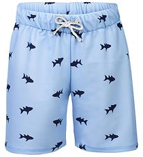 Petit Crabe Swim Shorts - Alex - UV50 - Light Blue w. Sharks