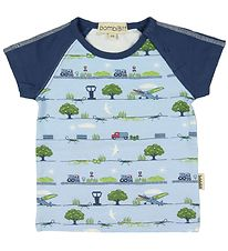 BombiBitt T-shirt - Light Blue w. Machines