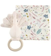 Cam Cam Gift Box - Rattle/Swaddle - Pressed Leaves Rose
