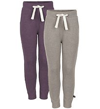 Minymo Sweatpants - 2-Pack - Light Brown Melange/Purple Melange