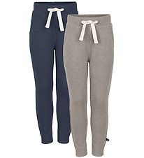 Minymo Sweatpants - 2-Pack - Light Brown Melange/Blue Melange