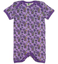 Småfolk Coverall - Purple w. Flowers