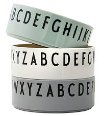 Design Letters Bowl - 3-Pack - Green/White/Grey w. Letters